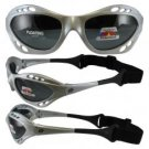 Birdz Seahawk Floating Polarized Sunglasses with Built in Strap Silver Frame
