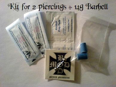 **New Price**   Professional Piercing Kit for 2, 14g Piercings w/ 2 Barbells