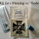 **New Price**   Professional Piercing Kit for 1, 14g Piercing w/  1 Barbell