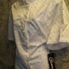 Retro vintage women's 44 short sleeve button down silky blouse shirt w/tags NEW