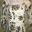 TRIBAL crinkle tiered ruffles stretch knit top S black white artsy 3/4 sleeve