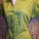 APT 9 women's size M blouse shirt bright green stretch short sleeve summer GC