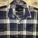 Blue plaid HURLEY cotton blend casual dress long sleeve shirt button down mens S