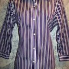 Deep plum vertical stripe cotton button down shirt 3/4 sleeve women's M blouse