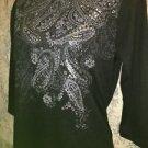Lightweight stretch 3/4 sleeve black silver sparkle embellished knit top S 4-6