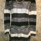 Soft lightweight stretch v-neck junior S 3-5 sweater dress tunic NWT stripe gray