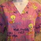 TWEETY BIRD women S scrubs nurse medical dental uniform top pullover v-neck pink