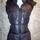 Platinum gray puffer vest jacket removeable hood fall spring women's M 8-10 GUC