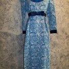 Vintage long maxi dress satin trim blue ancient Greece graphic print women's S