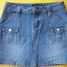 RUE 21 women's junior skirt 3/4 jean denim mini stretch