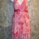 Tiered ruffle halter dress coral pink floral SPEECHLESS women's junior L summer