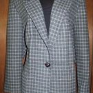 Plaid jacket blazer women's size M medium checkered GUC lined gray suit coat