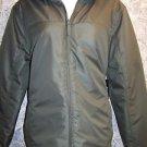 Lightweight fleece lined zip off  hood army green coat jacket women's M-L NWT