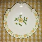Handpainted vintage porcelain china dish yellow green daisy flowers silver trim