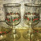 4 holly berry leaf water glasses dessert dish red green CHRISTmas LIBBEY Arby's