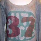 "Wide scoopneck women's size large L sweatshirt crewneck ""auto race 37"" graphic"