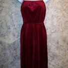 Vintage red wine velour spaghetti strap sleeveless dress union made women's 11
