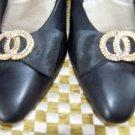 Witch pilgrim costume heels black slip-on bow buckle women size 8.5 dress up