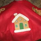 "40"" felt CHRISTmas tree skirt applique design hook loop fastener red gingerbread"