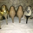 "Lot 4"" heels flashy gold glam reptile print patent leather fun fancy dress shoes"