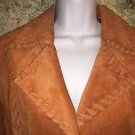 Hippie boho mod 70s western style orange suede leather lace laced casual coat M