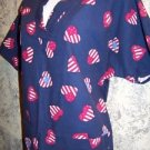 Patriotic women S scrubs nurse uniform v-neck pullover red white blue top July 4