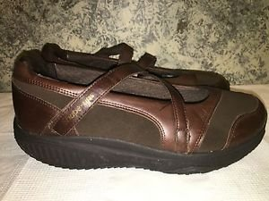 Brown suede leather SKECHERS Shape Ups walking casual shoes mary janes velcro 10