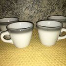 4 heavy vintage restaurantware stoneware SHENANGO CHINA gray band cups mug retro