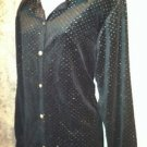 Black velour metallic gold embellish modest dressy button down shirt M stretch