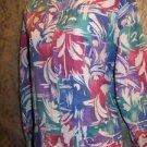 Artsy abstract colorful modest neckline scrubs jacket medical nurse uniform M