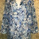 CD DANIELS semi sheer crinkle button down 3/4 sleeve blouse plus 1X blue floral