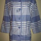 APPARENZE light jacket blazer womens 1X blue plaid EUC
