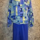 SPORT SAVVY women's silky lightweight abstract print zippered jacket pants blue