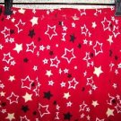 Red black star fleece sleep lounge pj pajama bottoms pants women M fall winter
