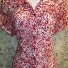 Artsy red white abstract semi sheer short sleeve women M blouse CHRISTOPHER BANK