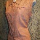 Vintage Woolrich short cap sleeve women M button up vertical stripe peach shirt
