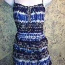 New artsy dye print tribal boho peasant top swim suit cover women sz S M