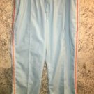 Turquoise running warm-up pants drawstring elastic waist crop XL silky stretch