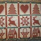 Country needlepoint pattern table runner fringe edge CHRISTmas winter decoration