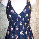 Hippie boho halter sundress beach summer dress floral junior S 3/5 blue pink GC