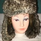 Red faux fur lined trappers winter hat 1 size adult ear flaps button velcro warm