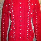 TALBOTS women's size medium red white sweater crewneck cableknit GUC CHRISTmas