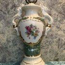 "Victorian hand painted floral antique urn handle ceramic 15"" table lamp ornate"