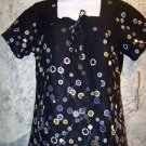NWT black floral scrubs gathered back neckline top nurse medical uniform women S