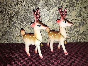 "2 vintage plastic reindeer bell chain collars CHRISTmas decoration Hong Kong 6"""