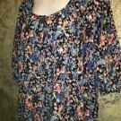 SAG HARBOR peasant style blouson shirt top 3/4 sleeve blue floral lightweight L