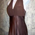 Long satiny brown modest bustle flowing long formal dress 6 Halloween costume