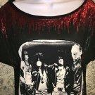 MOTLEY CRUE Rebel t-shirt black red sequins wide scoop neck S concert rock band