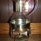 PYREX ? glass & gold metal decanter carafe coffee pot pourer warmer stand lid VC