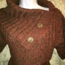 Bulky artsy big button cowlneck shawl collar sweater MAURICES fall colors M warm